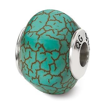 925 Sterling Silber poliert Reflexionen blau Magnesit Stein Perle Anhänger Anhänger Halskette Schmuck Geschenke für Frauen