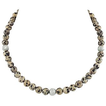 Eternal Collection Debutante Dalmatian Jasper Semi Precious Beaded Silver Tone Necklace