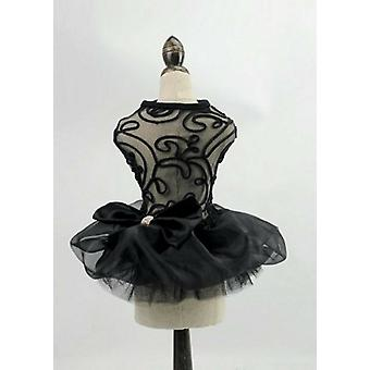 Elegant Embroidery Mesh Black Dog Dress