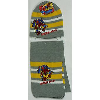 Meninos Spiderman 2 Piece Set inverno chapéu do Beanie e lenço