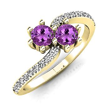 Dazzlingrock Collection 14K Round Amethyst & White Diamond Two Stone Swirl Bridal Engagement Ring, Yellow Gold