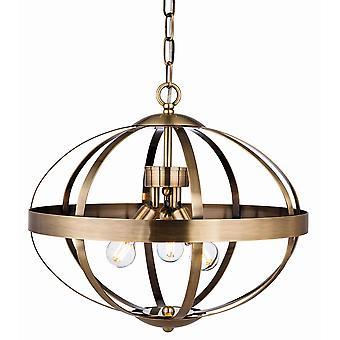 Firstlight Healey 3 Light Cage Ciondolo Leggero Ottone Antico 3709AB