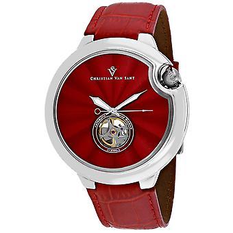 Christian Van Sant Men's Cyclone Automatische Rote Zifferblatt Uhr - CV0142