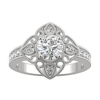 14K White Gold Moissanite by Charles & Colvard 6mm Round Floral Statement Ring, 1.05cttw DEW
