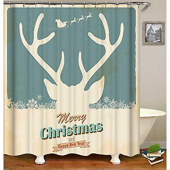 Reindeer Christmas Vintage Tin Plate Shower Curtain