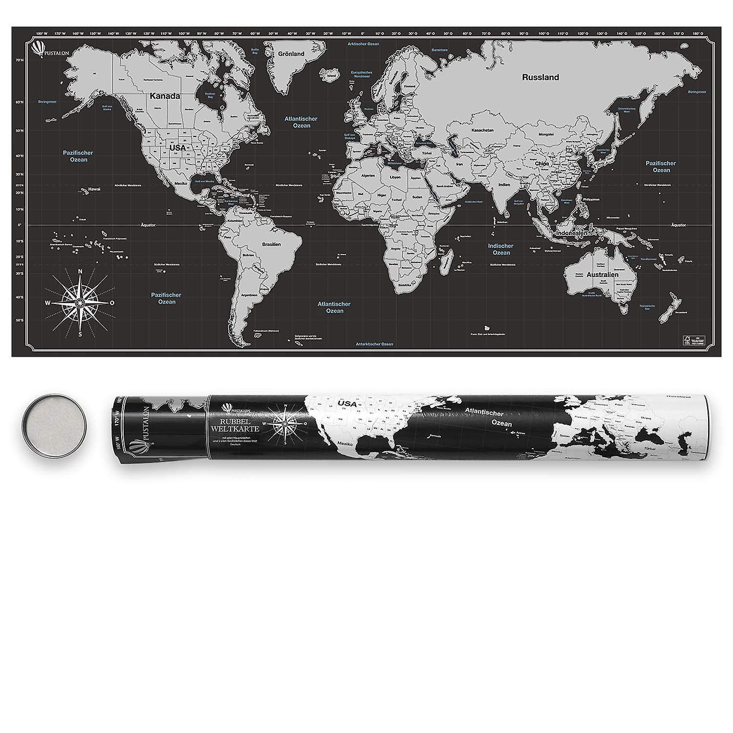 Pustalon World Map To Scratch English - FSC® Certified - Made in Germany - Stainless Steel Scratch Chip, Scratch World Map Poster - Wall Poster Design Edition, Beautiful Gift Packaging