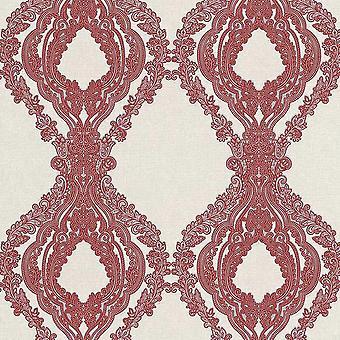 Secretos Rojo Damasco Fondo Depantalla Floral Glitter Crema Plata Texturizado Vinilo Erismann