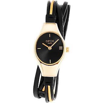 Opex OPW015 Watch - FILANTE Black Leather Bracelet Box Steel Steel Dor Women