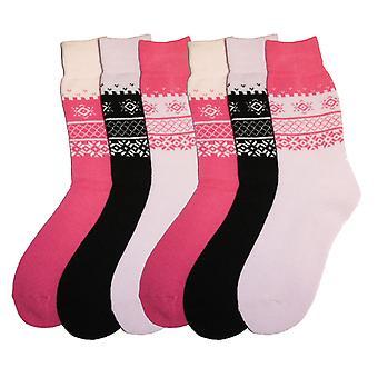 New Ladies SHORT Fairisle Design Warm Thermal Winter boot Socks 4-8 6PK