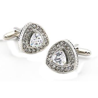 Silver Triangle Crown Crest Shield Shaped Cufflinks Stone Studded Novelty Shirt Cuff Links