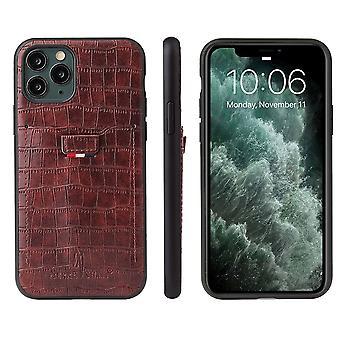Til iPhone 11 Pro Max Sag Crocodile Mønster PU Læder Tegnebog Cover Brown