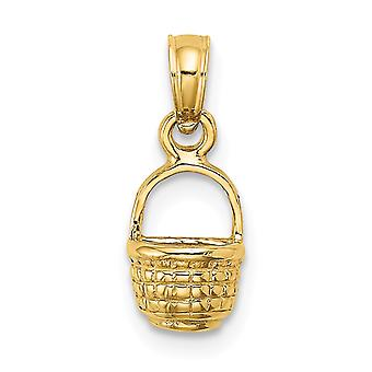 14k Guld Mini Basket Vedhæng halskæde 2 d Flat Back smykker Gaver til kvinder - 0,7 Gram