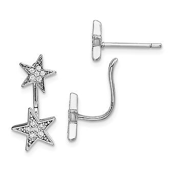 925 Sterling Silver Rhodium Plated CZ Cubic Zirconia Simulated Diamond Star Front and Back Post Earrings Jewelry Gifts f