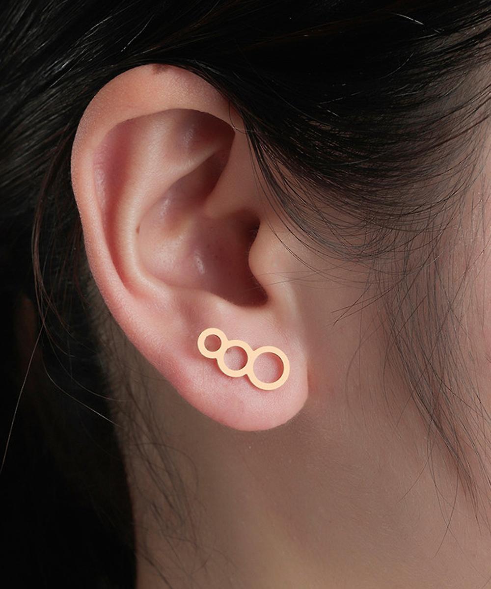 Gold Triple Circle Ear Climber Studs