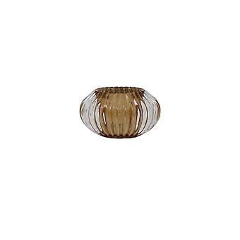 Light & Living Tealight 11x6.5cm - Pertu Clear Glass And Brown