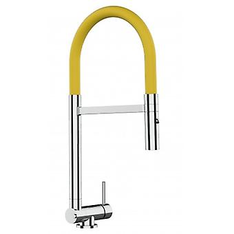 Single-lever Chromed Kitchen Sink Mixer With Yellow Movable Spout And 2 Jets Shower - Only 4,5 Cm - 512