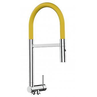 Single-lever Chromed Kitchen Sink Mixer met gele beweegbare tuit en 2 Jets Douche - Slechts 4,5 cm - 512