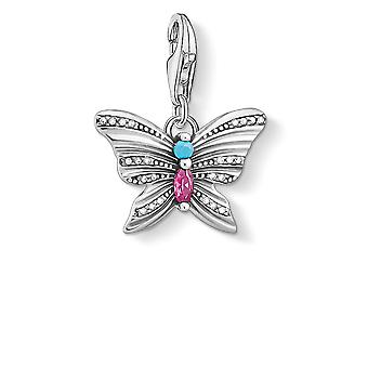 Thomas Sabo Charm Club Sterling Silver Butterfly Multicoloured Charm Pendant 1831-342-7