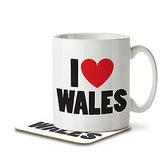 I Love Wales - Mug and Coaster
