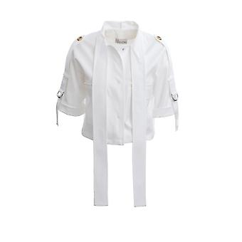 Red Valentino Tr0cic354yk001 Women's White Cotton Outerwear Jacket