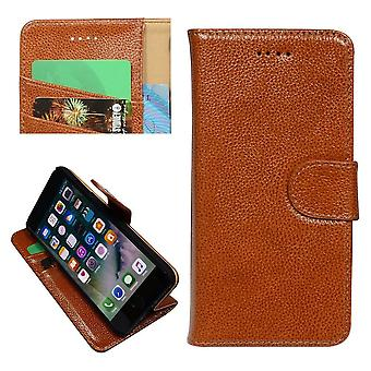 For iPhone SE(2020), 8 & 7  Wallet Case,Fashion Cowhide Durable Genuine Leather Cover,Brown