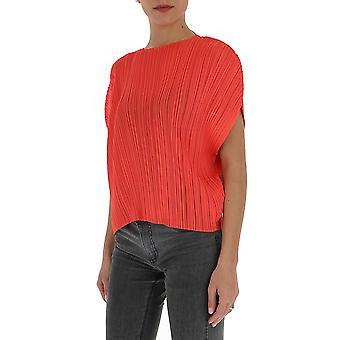 Issey Miyake Pleats Please Pp06jk78125 Women's Red Cotton Sweater