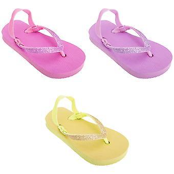 FLOSO Childrens Girls Plain Toe Post Flip Flops With Glitter Strap
