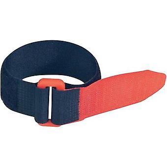 FASTECH® F101-25-195-5 Krok-och-slinga tejp med rem Krok och slinga pad (L x W) 195 mm x 25 mm Svart, Röd 5 st)