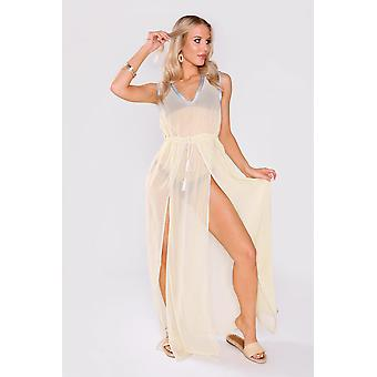 Kaftan marianne sleeveless v-neck adjustable waist dress with slits cover-up in yellow