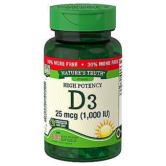 Nature's waarheid hoge potentie vitamine d3, 1000 iu, quick release softgels, 130 ea