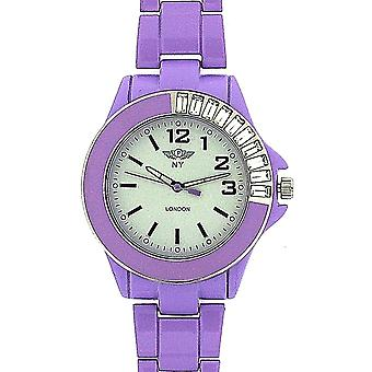Prince London Ladies Analogue Stone Set Bezel Purple Metal Bracelet Strap Watch