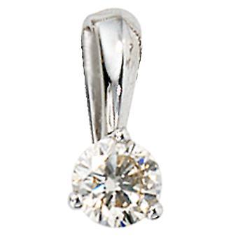 Women's Pendant 585 Gold White Gold 1 Diamond Brilliant 0.25ct. Solitaire diamond pendant
