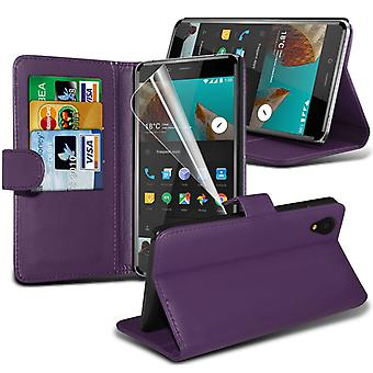i-Tronixs OnePlus 3 Case PU Leather Wallet Classic Flip Cover + Screen Protector Guard -Purple