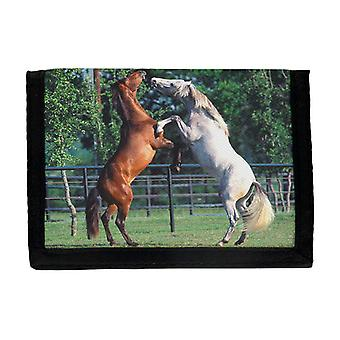 White & Brown Horses Wallet