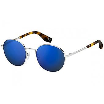 round silver/blue sunglasses for men