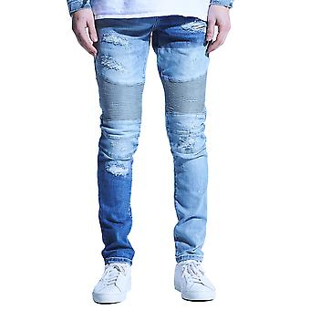 Embellish Langford Biker Denim Jeans Patchwork Light Indigo