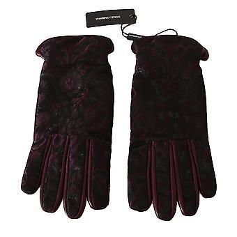 Dolce & Gabbana Purple Black Floral Jacquard Leather Gloves -- LB27924272
