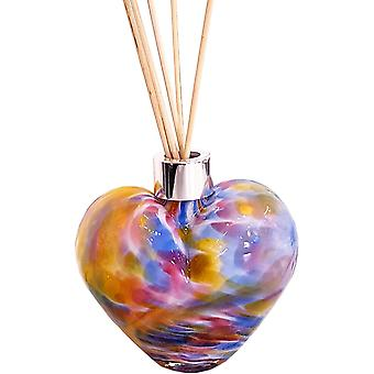 Amelia Art Glass Heart Shaped Reed Diffuser Orange Blue & Pink