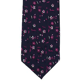 Michelsons of London Small Bold Floral Polyester Tie - Navy/Pink