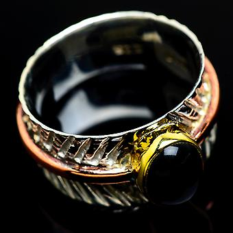 Black Onyx Copper Ring Size 9 (925 Sterling Silver)  - Handmade Boho Vintage Jewelry RING7924