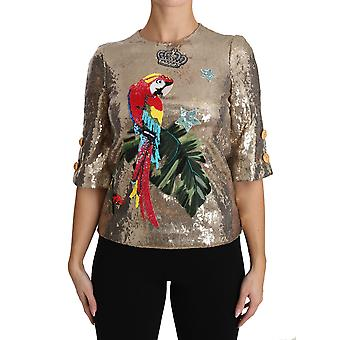 Dolce & Gabbana Gold Sequined Parrot Crystal Blouse TSH3124-36