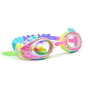 Girls rainbow colour traditional shaped hearts fun swimming goggles