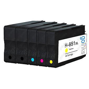 1 kompatibelt sæt med 4 + ekstra sort HP 950 og 951 (HP 950XL og 951XL) printerblækpatroner