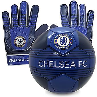 Chelsea FC Official Junior Gift Set Size 4 Football & Goalkeeper Goalie Gloves