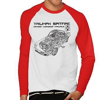 Haynes Owners Workshop Manual 0113 Triumph Spitfire Black Men's Baseball Long Sleeved T-Shirt
