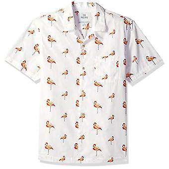 28 Palms Men's Standard-Fit 100% Cotton Tropical Hawaiian Shirt, Flamingo Whi...