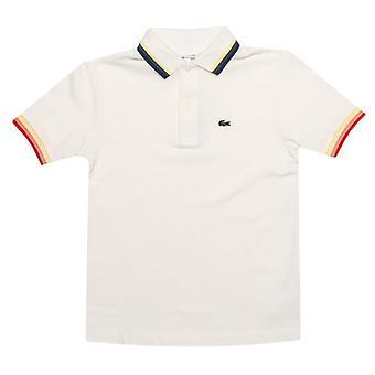 gutt&s lacoste spedbarn tippet krage polo skjorte i hvitt