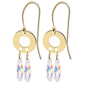 Ah! Jewellery 24K Gold Vermeil Over Sterling Silver Dreamcatcher Earrings, Adorned with Aurore Boreale Crystals From Swarovski.