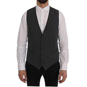 Dolce & Gabbana Gray STAFF Cotton Striped Vest -- SIG6005168
