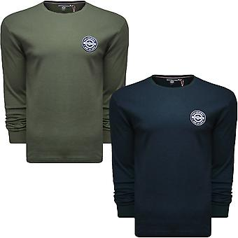 Lambretta Mens Interlock Casual Long Sleeve Crew Neck Cotton T-Shirt Top Tee